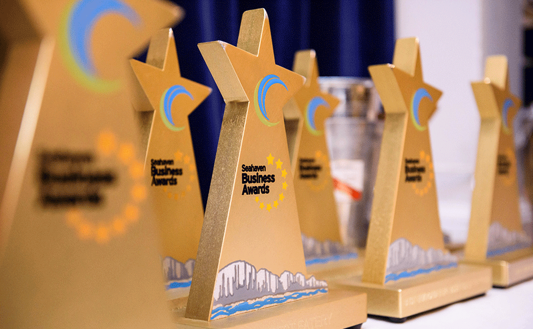 Seahaven Business Awards trophies