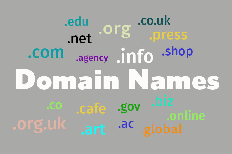 Domain names on grey